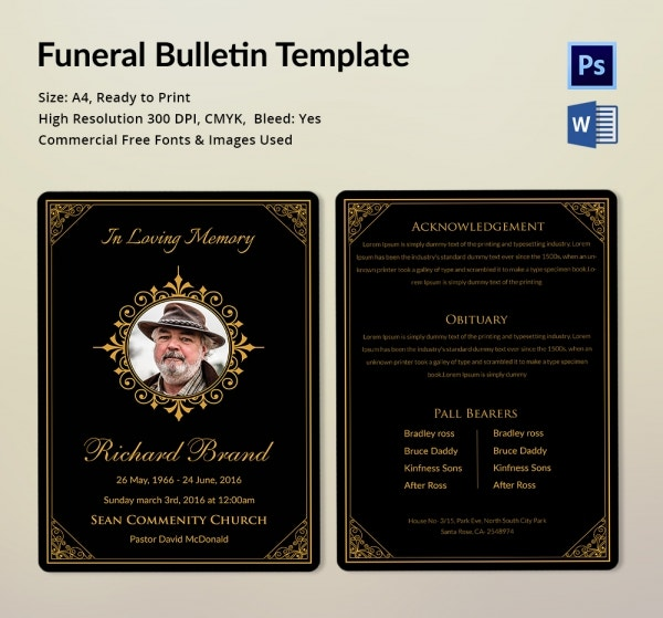 Immediate Disposition Funeral Bulletin Template