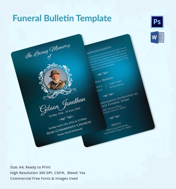 Funeral Bulletin Template Download