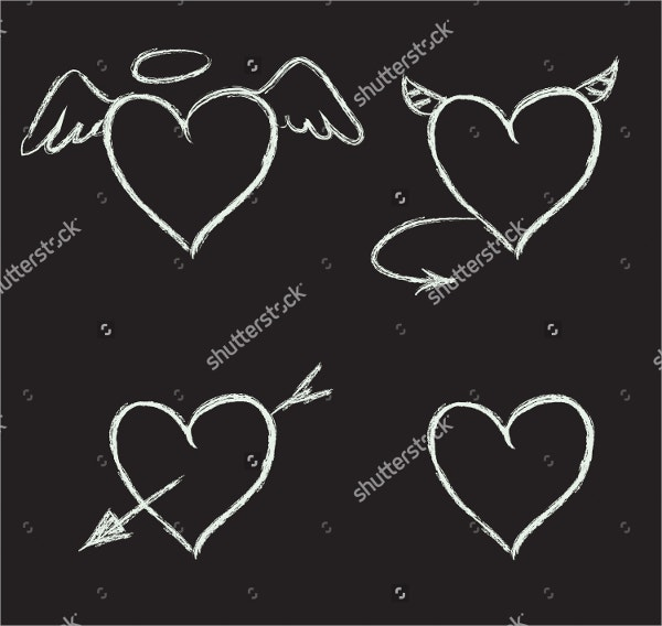 chalk drawn heart vector