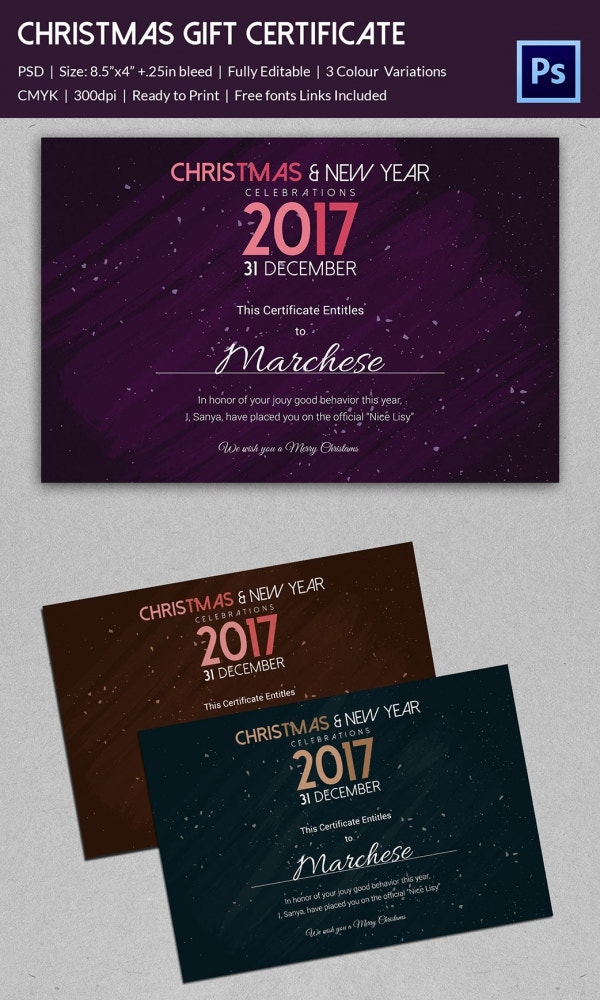 Premium Christmas Gift Certificate Template