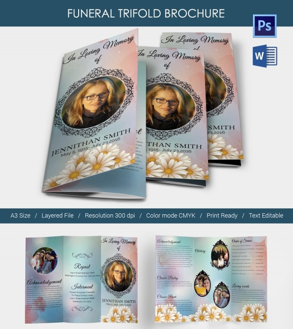 5 funeral trifold brochure templates word psd format for Funeral brochure templates free