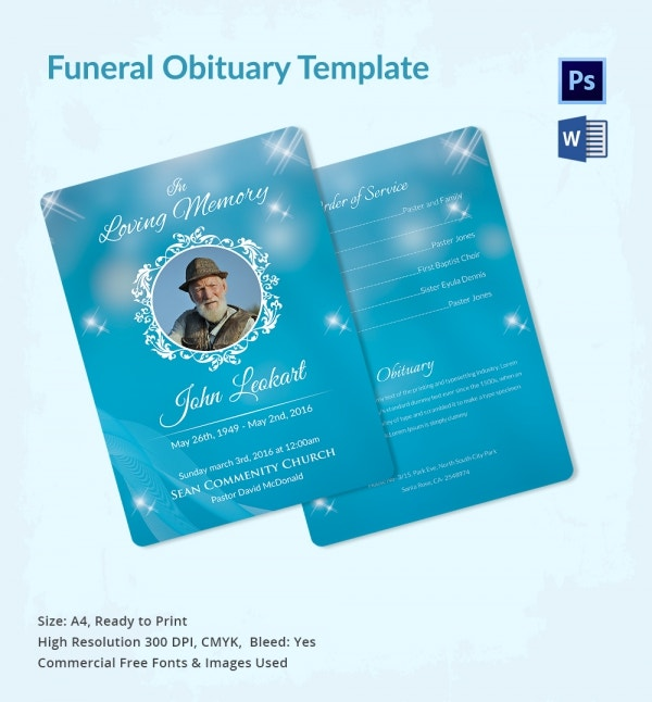 5 Funeral Obituary Templates - Word, Psd Format Download | Free