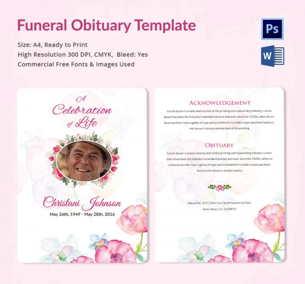 Funeral obituary template 25 free word excel pdf psd for Free online obituary template
