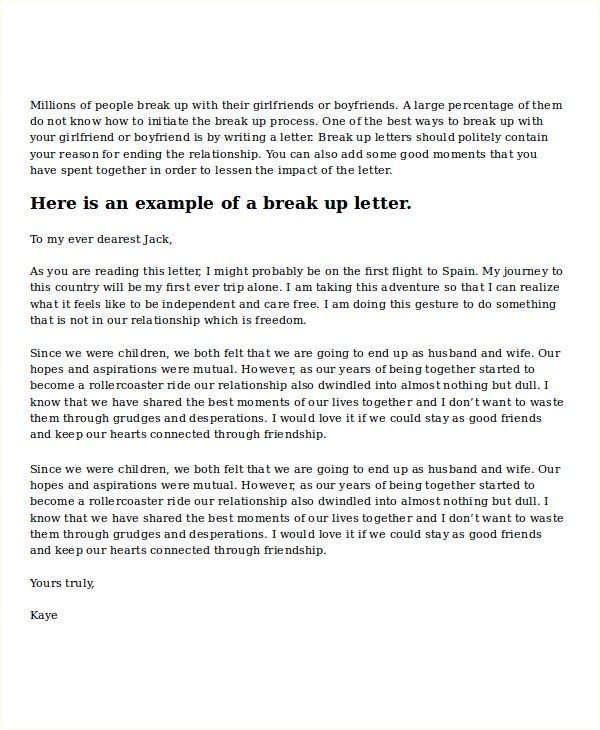 break up letter to boyfriend