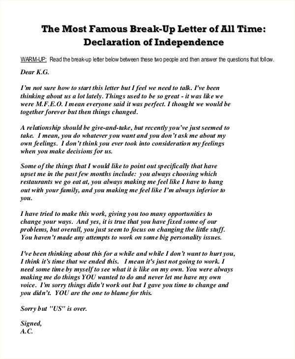Break-Up Letter Declaration