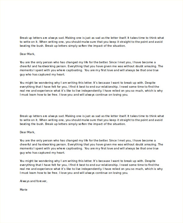 Sad Break Up Letter