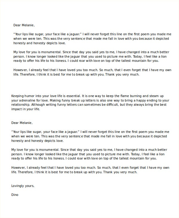 Funny Break Up Letter