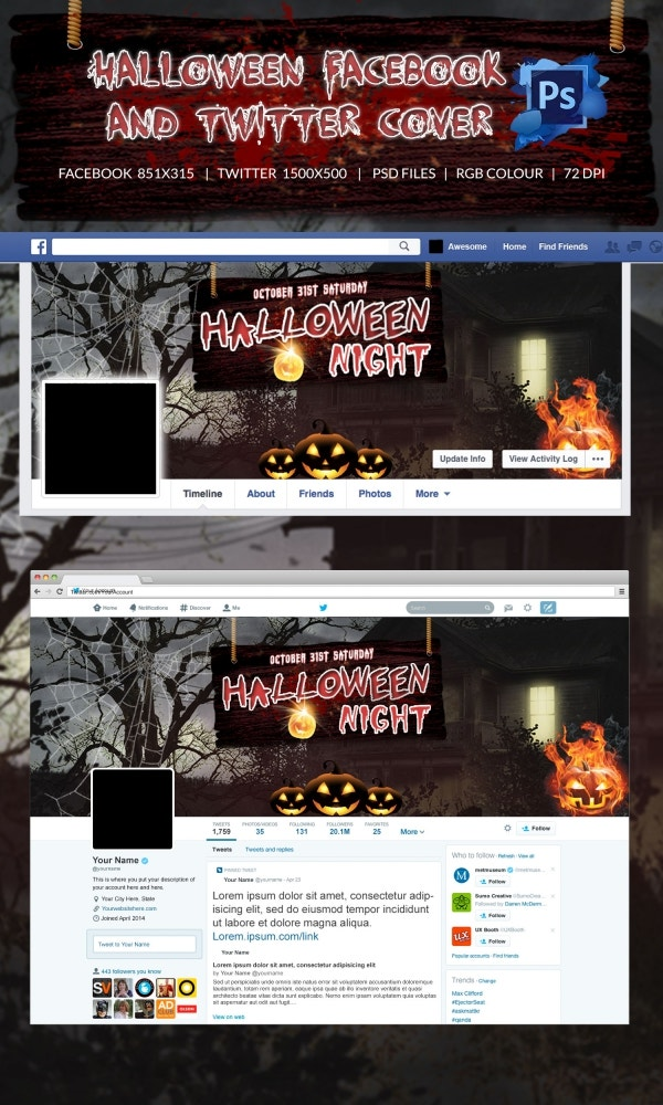Creepy Halloween Facebook & Twitter Cover Page