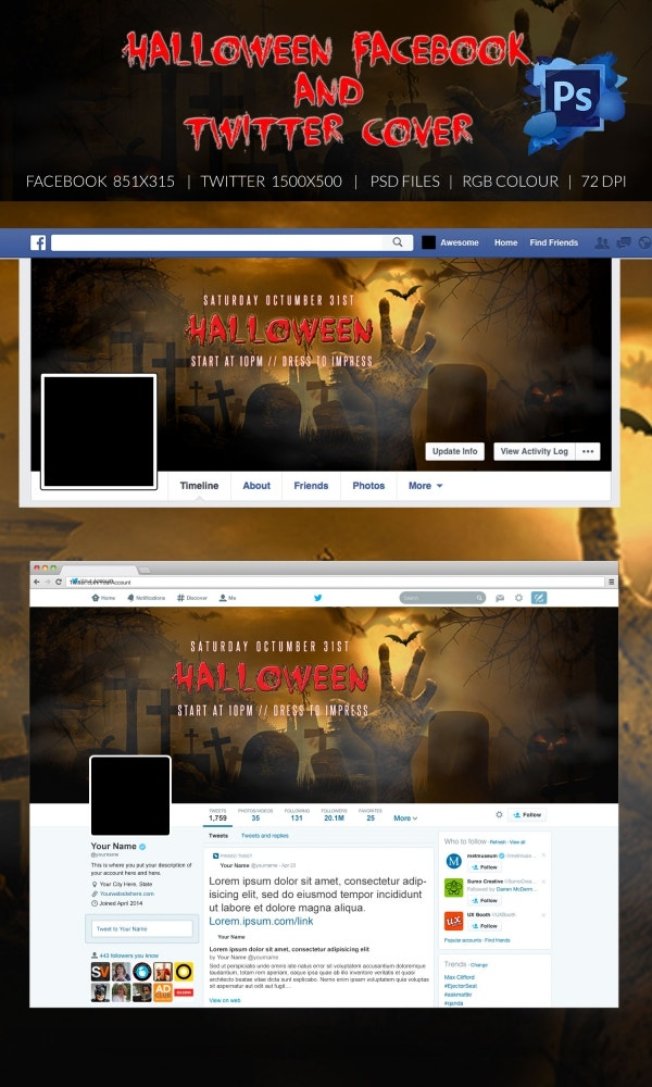 Pre-Designed Halloween Facebook & Twitter Cover Page