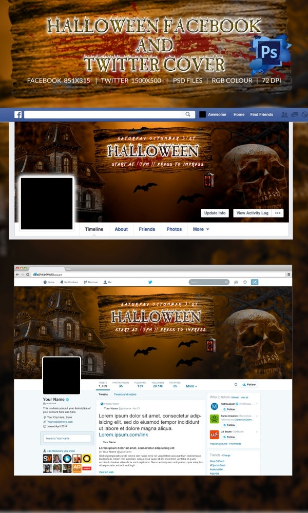 Dark House Halloween Festival Facebook & Twitter Layout