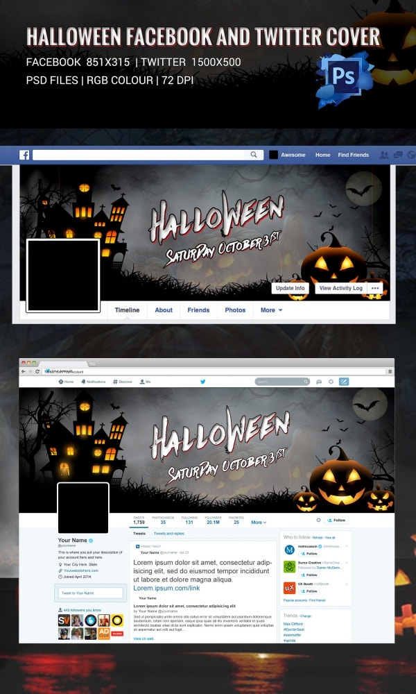 Scary Halloween Facebook & Twitter Cover Page