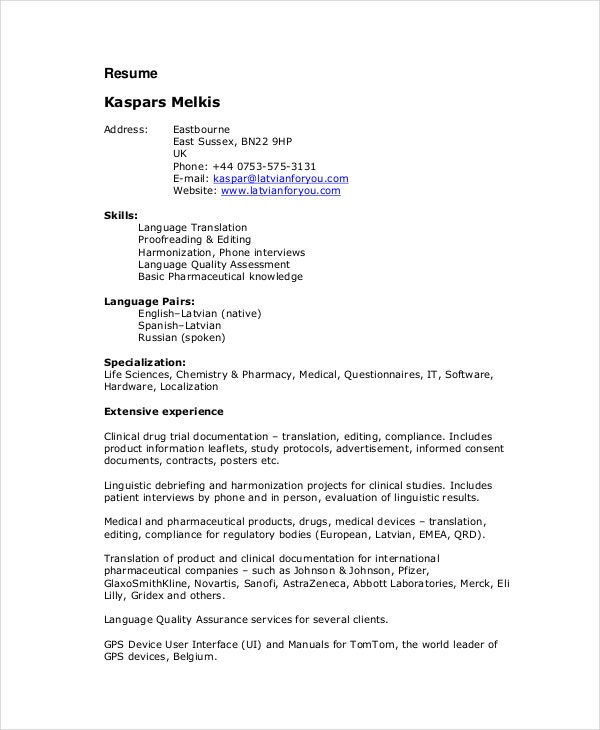 freelance translator resume