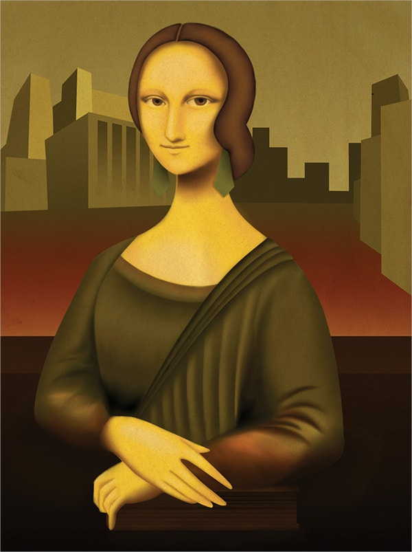 Art Deco Mona Lisa Painting
