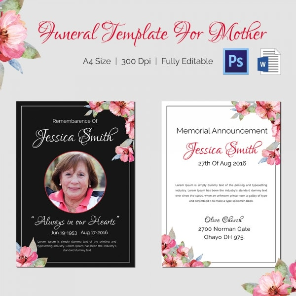 memorial mother funeral template