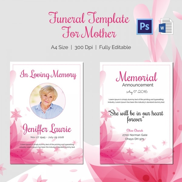traditional funeral template for mother