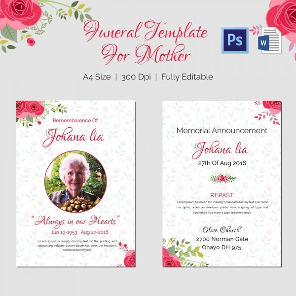 Remembering Mother Funeral Template