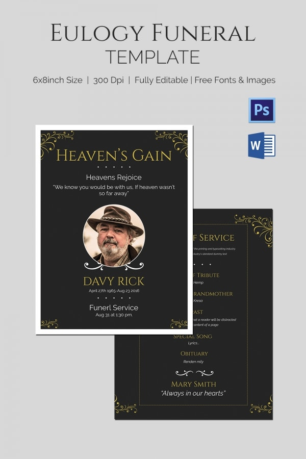 Eulogy Funeral Template - 5+ Word, PSD Format Download | Free ...