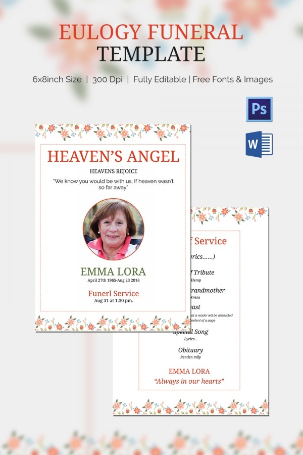 Premium Eulogy Funeral Template Download  Funeral Template Download