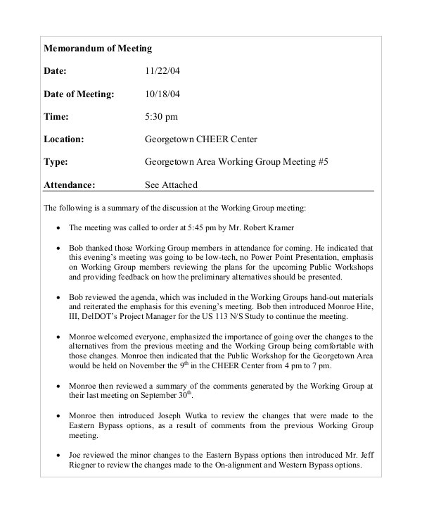 Employee Meeting Memo Template