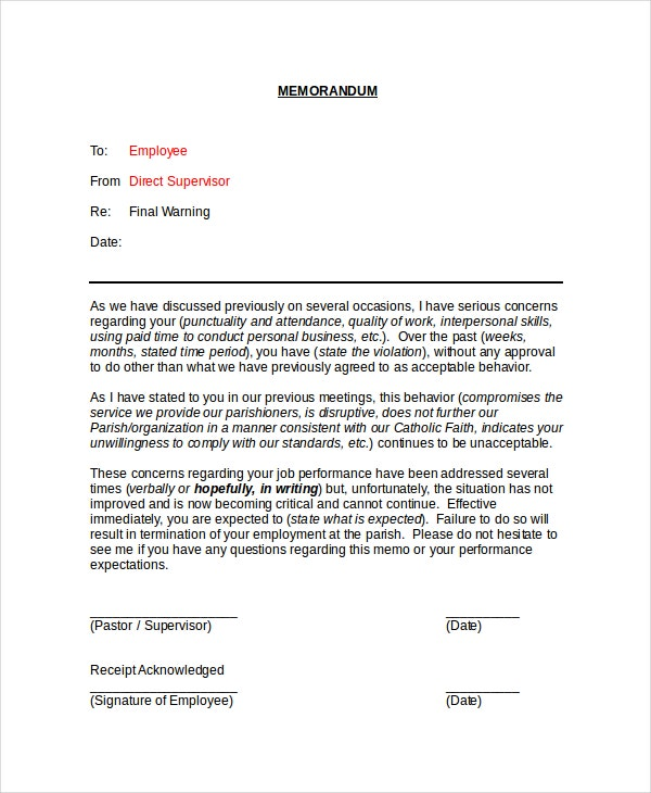 example of memorandum to employees