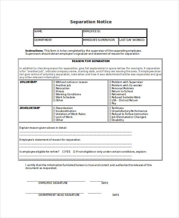 14 Separation Notice Templates Google Docs Ms Word