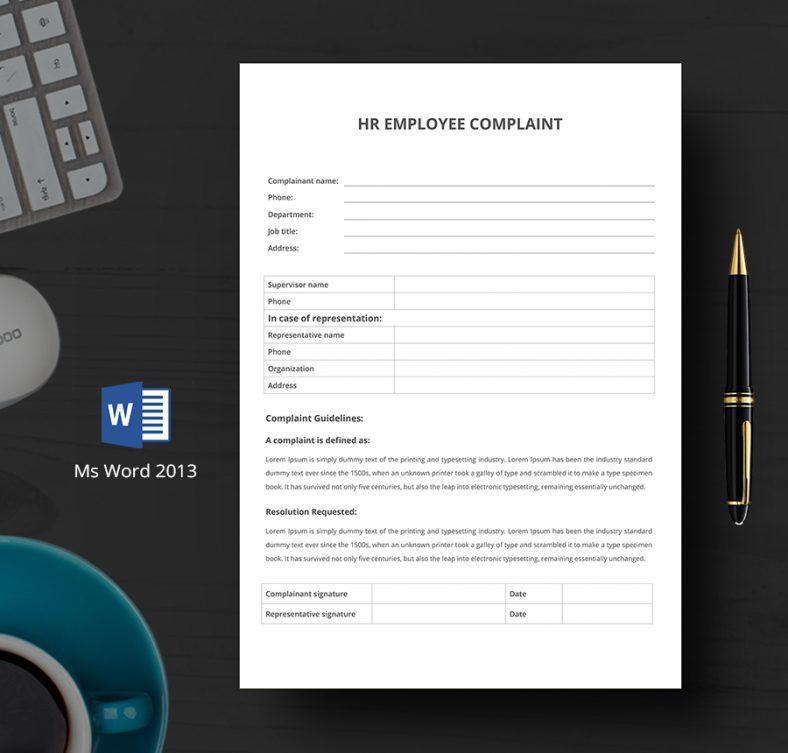 Company HR Department Complaint Form