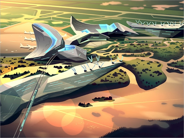 color airport illustration