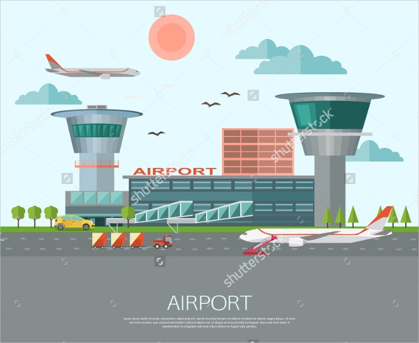 Airport Landscape Art Illustration