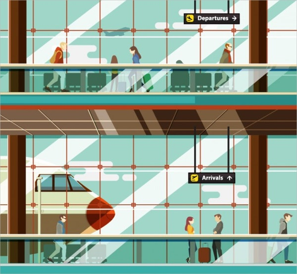 Airport Illustation with People Free Vector