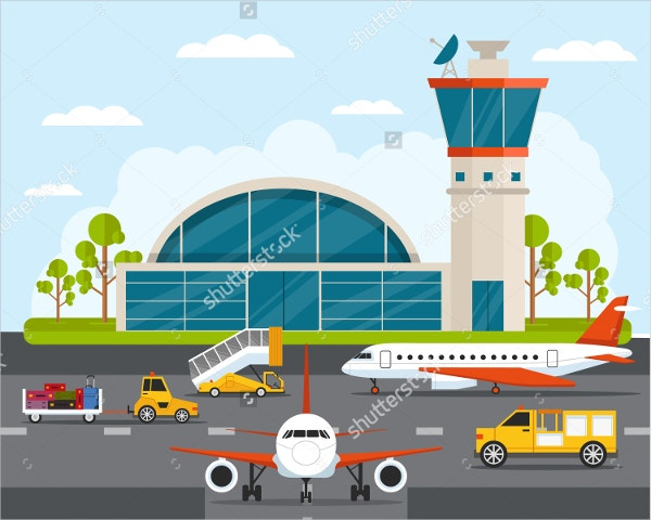 airport art with infographic elements