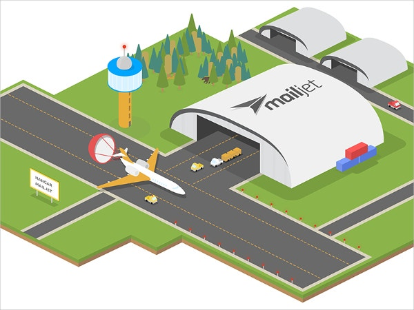 airport isometric art illustration