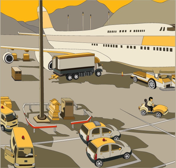 First Voyage Airport Art Illustration