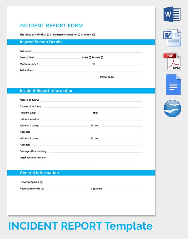 Incident Report Form  Incident Form Template
