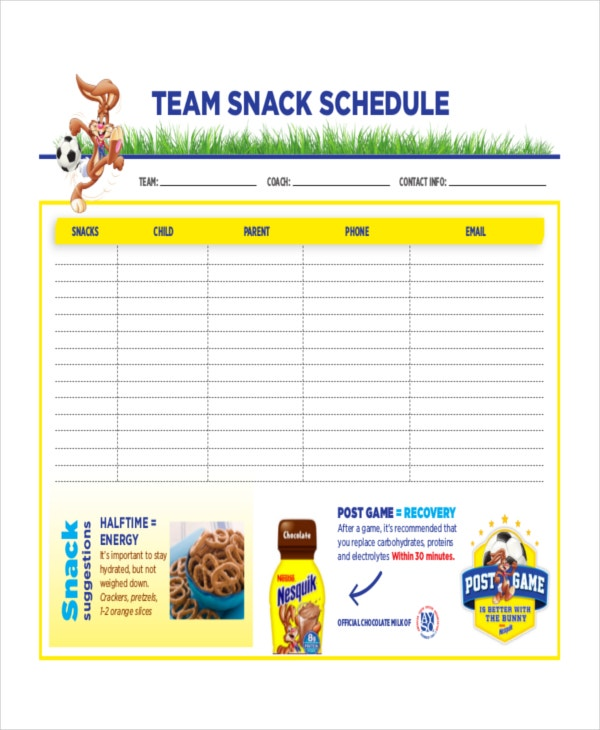 Snack Schedule Template   Free Word Excel Pdf Document