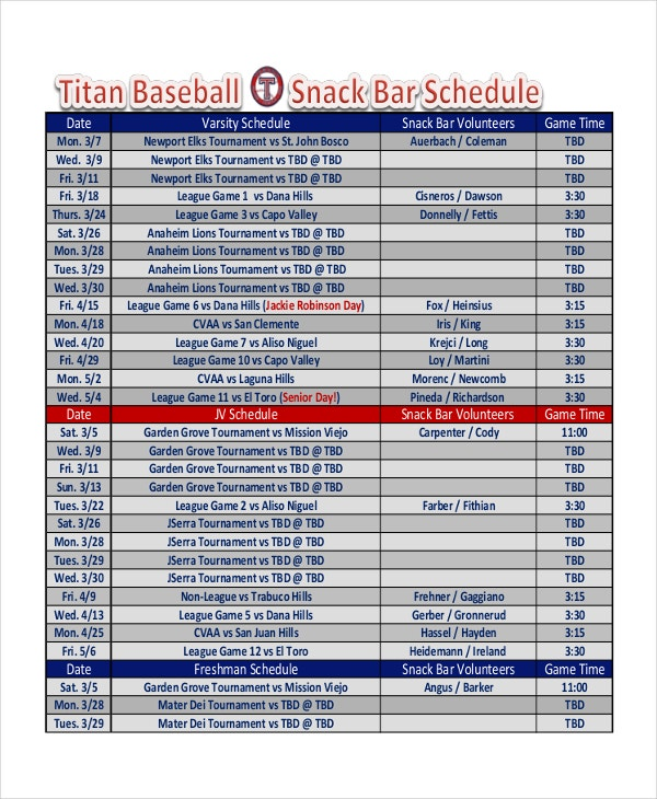 Snack schedule template 7 free word excel pdf for Baseball schedule template free
