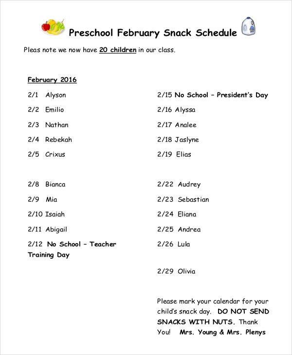 Preschool Snack Schedule