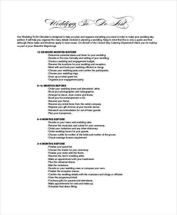 Sample Wedding To Do List Template For Catering  Bridal Party List Template