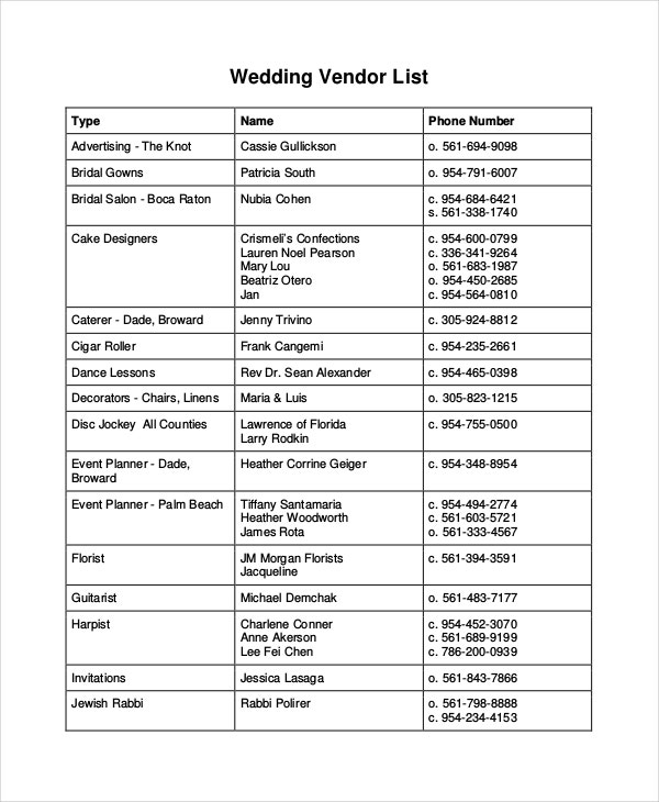 Wedding Vendor Contact List Template  VisualbrainsInfo