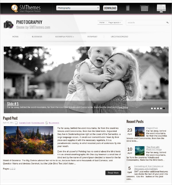 free photography blog wordpress theme