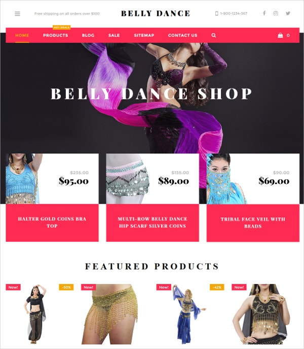 Belly Dance Products Shopify Theme $139
