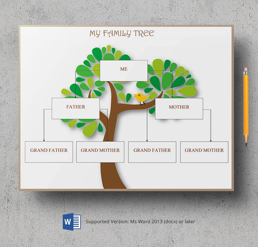 Free Family Tree Templates  Three Generation Inversed Large