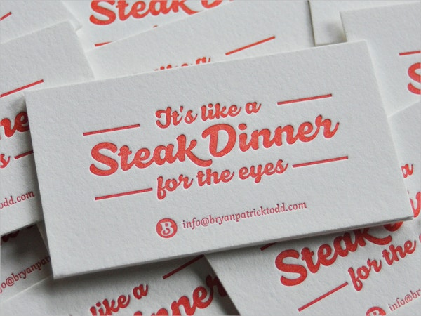 steak debossed business card
