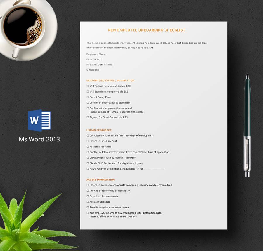 8+ Free HR Checklist Templates - Employee Orientation, Policies, New