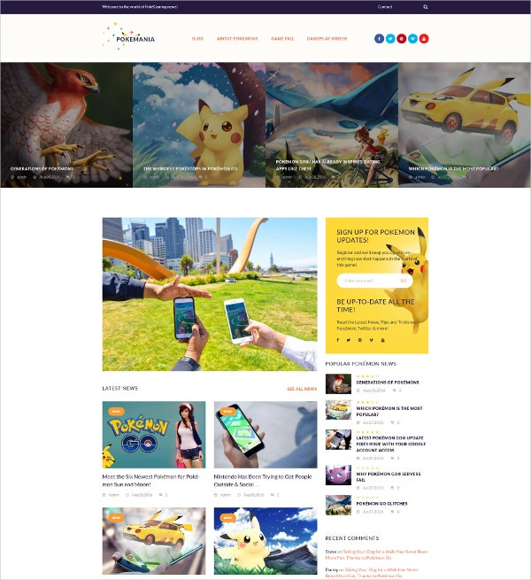 Pokemon Game WordPress Theme $55