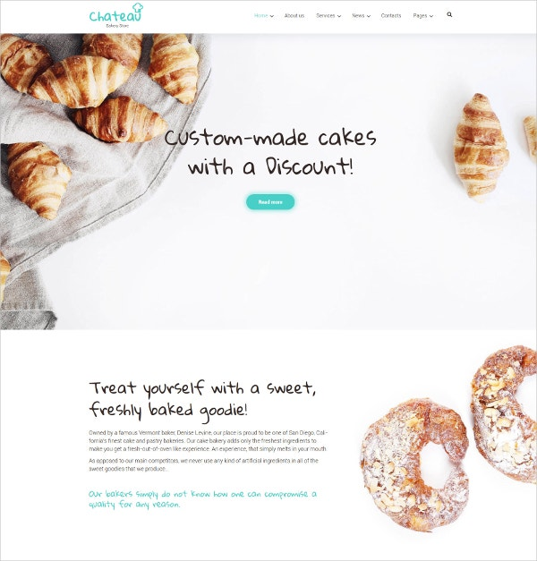 Sweets,Cakes & Bakery WordPress Theme $75