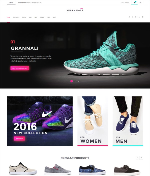 Footwear WooCommerce Theme for Men & Women $114