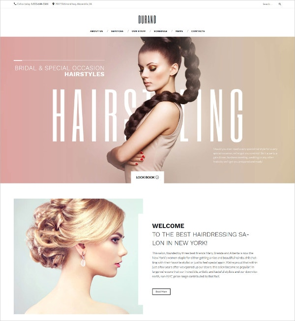 Beauty, Hair Salon WordPress Theme for Bridal & Special Occasion $75