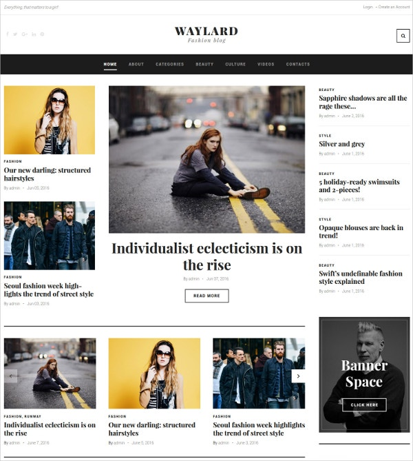 Magazine Blog WordPress Theme for Fashion $45