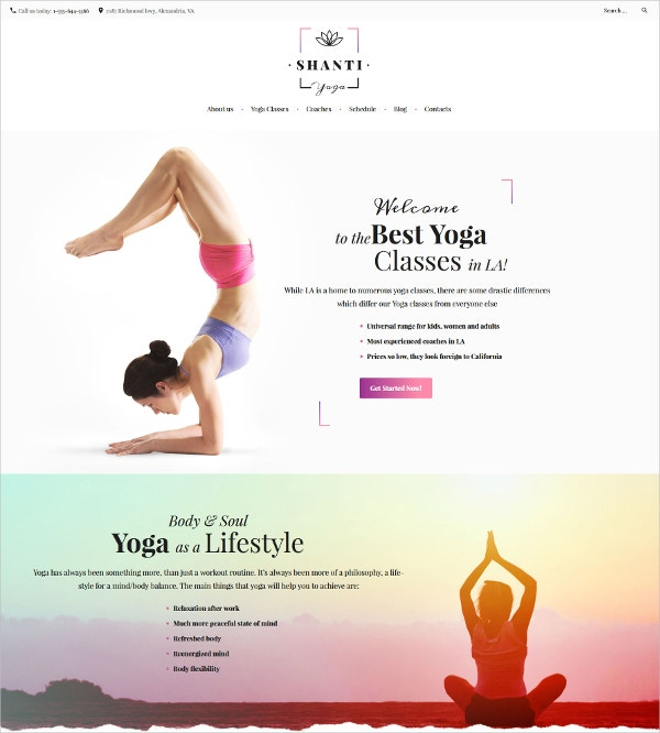 Yoga Studio WordPress Theme for Health & Fitness $75