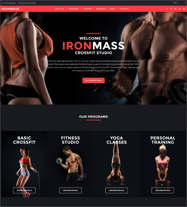 Fitness Studio & Personal Training WordPress Theme $75